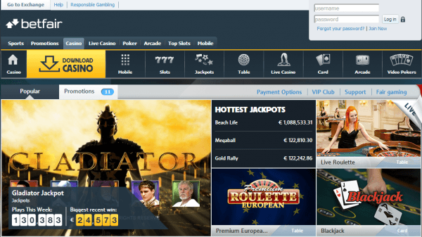 Screenshot of Betfair Online Casino